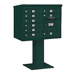 Pedestal Mailbox,9 Doors,Green,51-5/8in