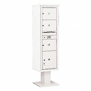 Pedestal Mailbox,4 Doors,White,72 in.