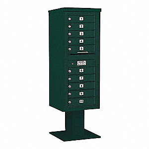 Pedestal Mailbox, 10 Doors, Green, 59-3/4in