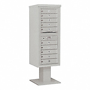 Pedestal Mailbox,10 Doors,Gray,59-3/4in