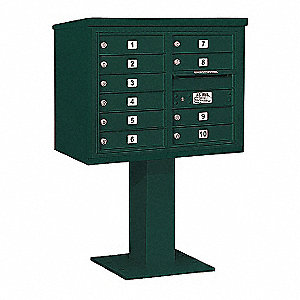 Pedestal Mailbox,10 Doors,Green,51-5/8in