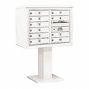 Pedestal Mailbox, 10 Doors, White, 51-5/8in