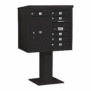 Pedestal Mailbox, 7 Doors, Black, 55-1/8in