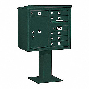 Pedestal Mailbox, 7 Doors, Green, 55-1/8in