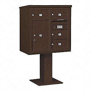Pedestal Mailbox, 5 Doors, Bronze, 58-5/8in