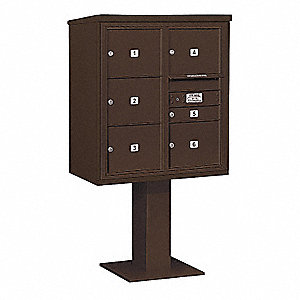 Pedestal Mailbox,6 Doors,Bronze,62-1/8in