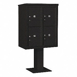 Pedestal Mailbox,4 Doors,Black,65-5/8in