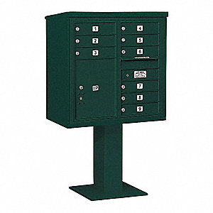 Pedestal Mailbox, 10 Doors, Green, 58-5/8in