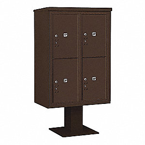 Pedestal Mailbox,4 Doors,Bronze,59-3/4in