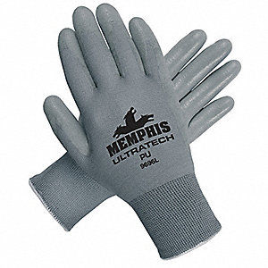 13 Gauge Flat Polyurethane Coated Gloves, Glove Size: XS, Gray
