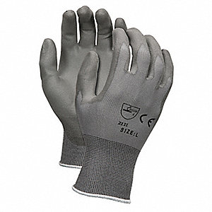 13 Gauge Flat Polyurethane Coated Gloves, Size XL, Gray