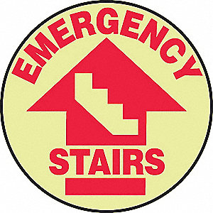 "Floor Sign, Emergency Stairs, 17""x17"""