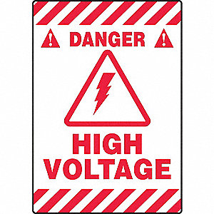 "Electrical Hazard, Danger, Vinyl, 20"" x 14"", Adhesive Floor, Not Retroreflective"