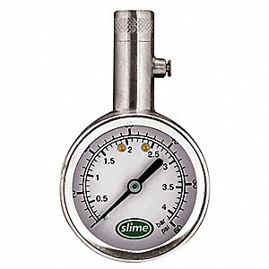BRASS DIAL TIRE GAUGE,5 TO 60 PSI