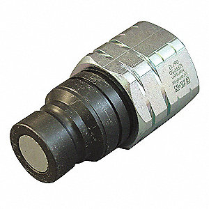 "1/4""-18 Zinc Plated Steel Hydraulic Coupler Nipple, 1/4"" Body Size"