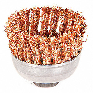 "2-3/4"" Knotted Wire Cup Brush, Arbor Hole Mounting, 0.020"" Wire Dia. 1"" Bristle Trim Length"
