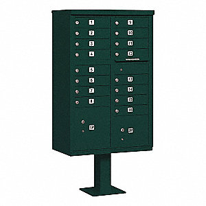Cluster Box Unit,16 Doors,Green