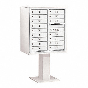 Pedestal Mailbox,16 Doors,White,62-1/8in