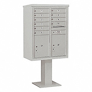 Pedestal Mailbox,12 Doors,Gray,69-1/8in