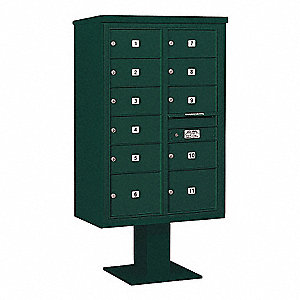 Pedestal Mailbox,2C,Green,63-1/4in