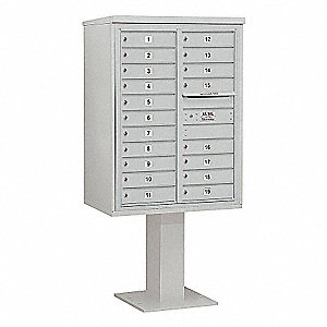 Pedestal Mailbox,19 Doors,Gray,69-1/8in
