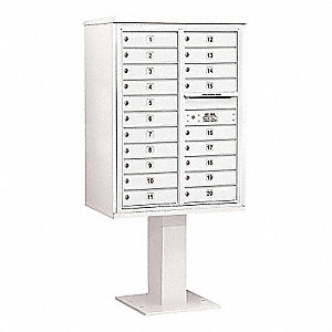 Pedestal Mailbox, 20 Doors, White, 69-1/8in