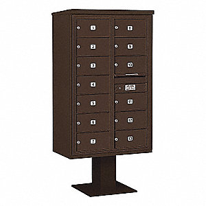 Pedestal Mailbox, 13 Door, Bronze, 66-3/4in