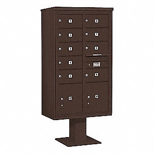 Pedestal Mailbox,11 Door,Bronze,70-1/4in