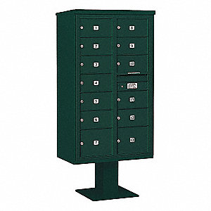Pedestal Mailbox,2C,Green,70-1/4in