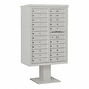 Pedestal Mailbox,22 Doors,Gray,59-3/4in