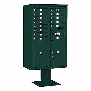 Pedestal Mailbox,16 Doors,Green,66-3/4in