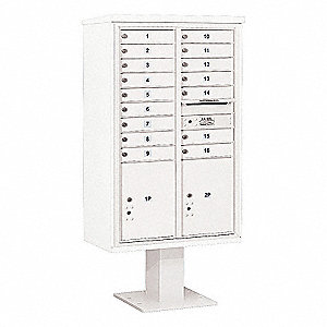 Pedestal Mailbox,18 Doors,White,66-3/4in