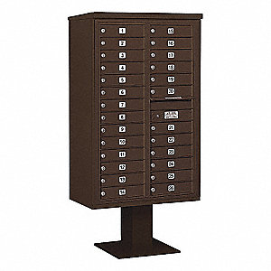 Pedestal Mailbox, 26 Door, Bronze, 66-3/4in