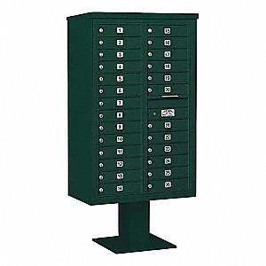 Pedestal Mailbox, 26 Doors, Green, 66-3/4in