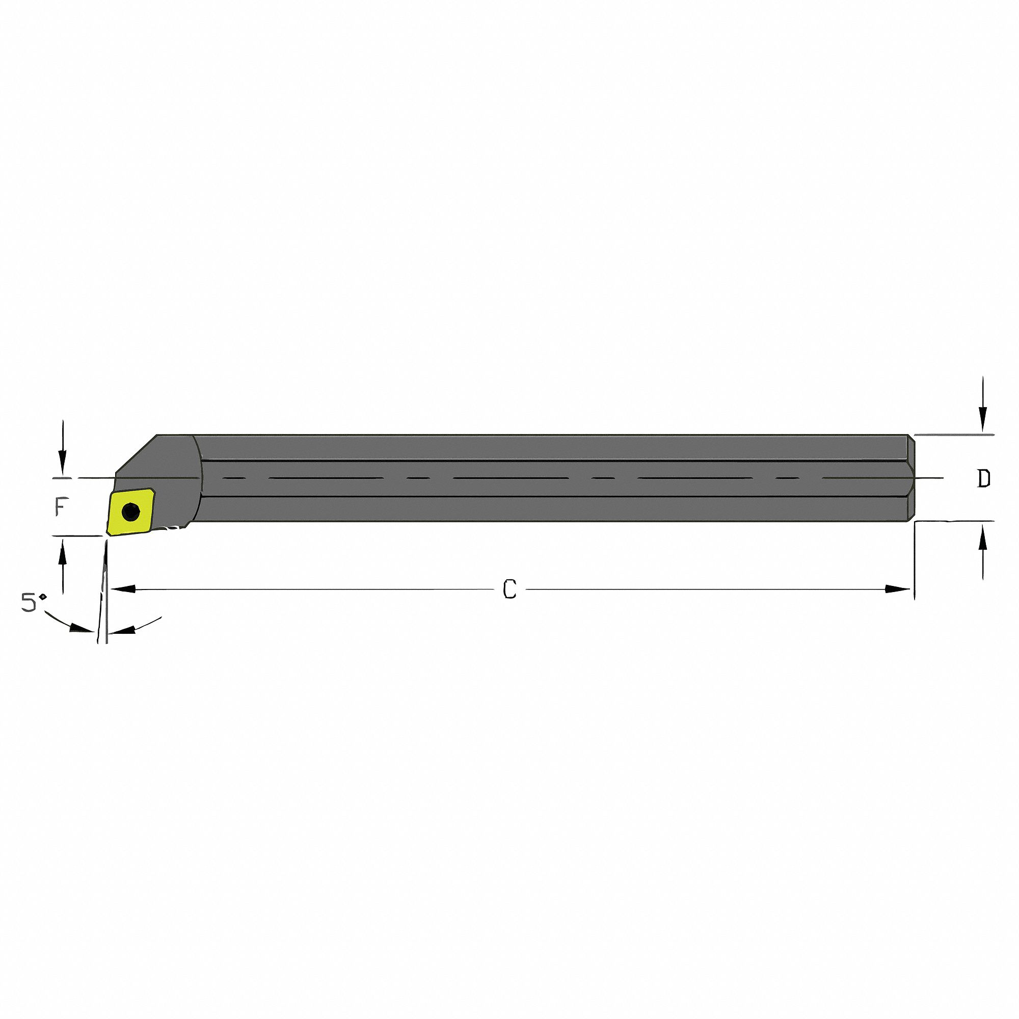 Indexable Boring Bar,  A-SCLP,  Insert Shape 80° Diamond,  Overall Length 6 in