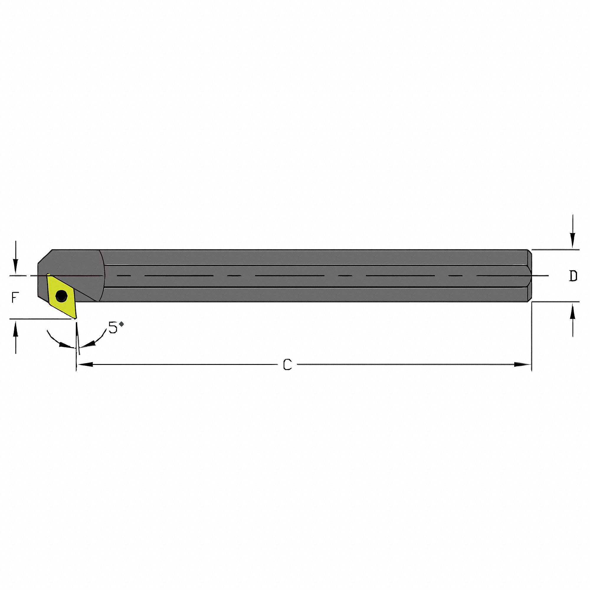 Indexable Boring Bar,  Insert Shape 55° Diamond,  Overall Length 9 in