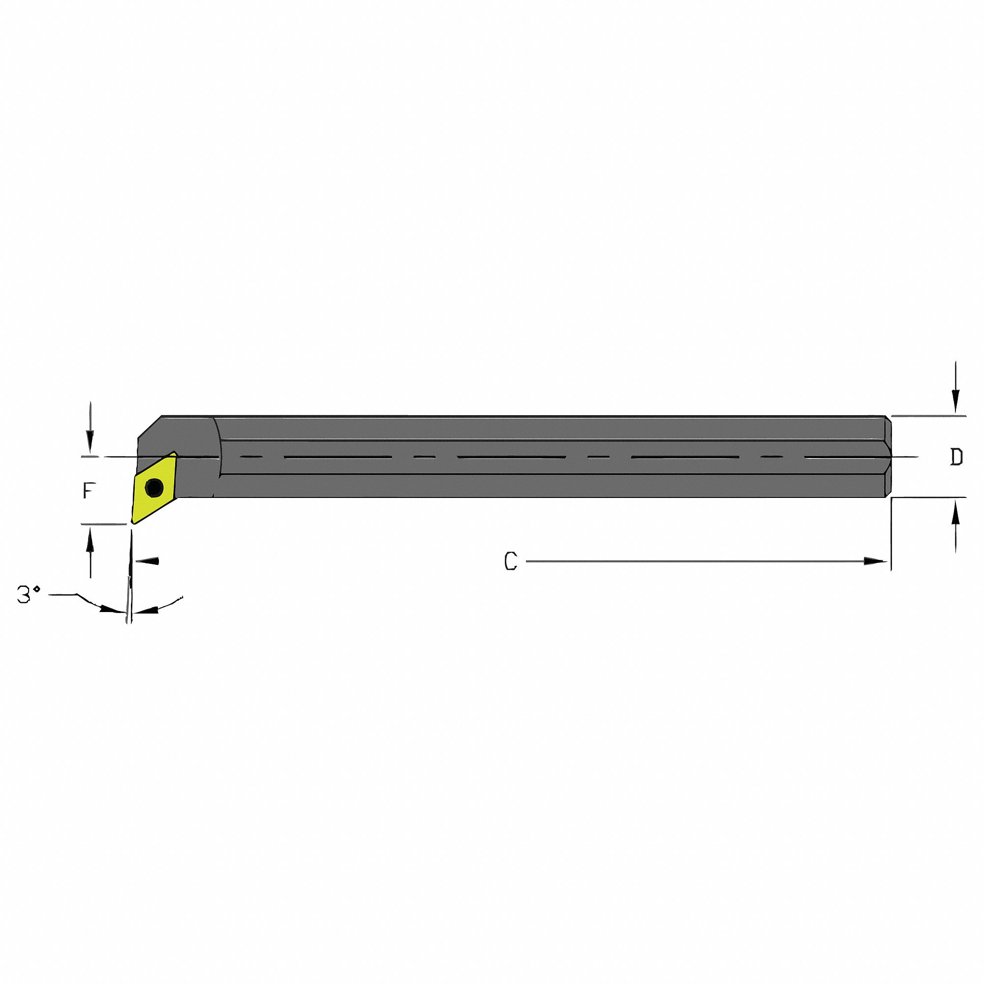 Indexable Boring Bar,  A-SDUC,  Insert Shape 55° Diamond,  Overall Length 5 in
