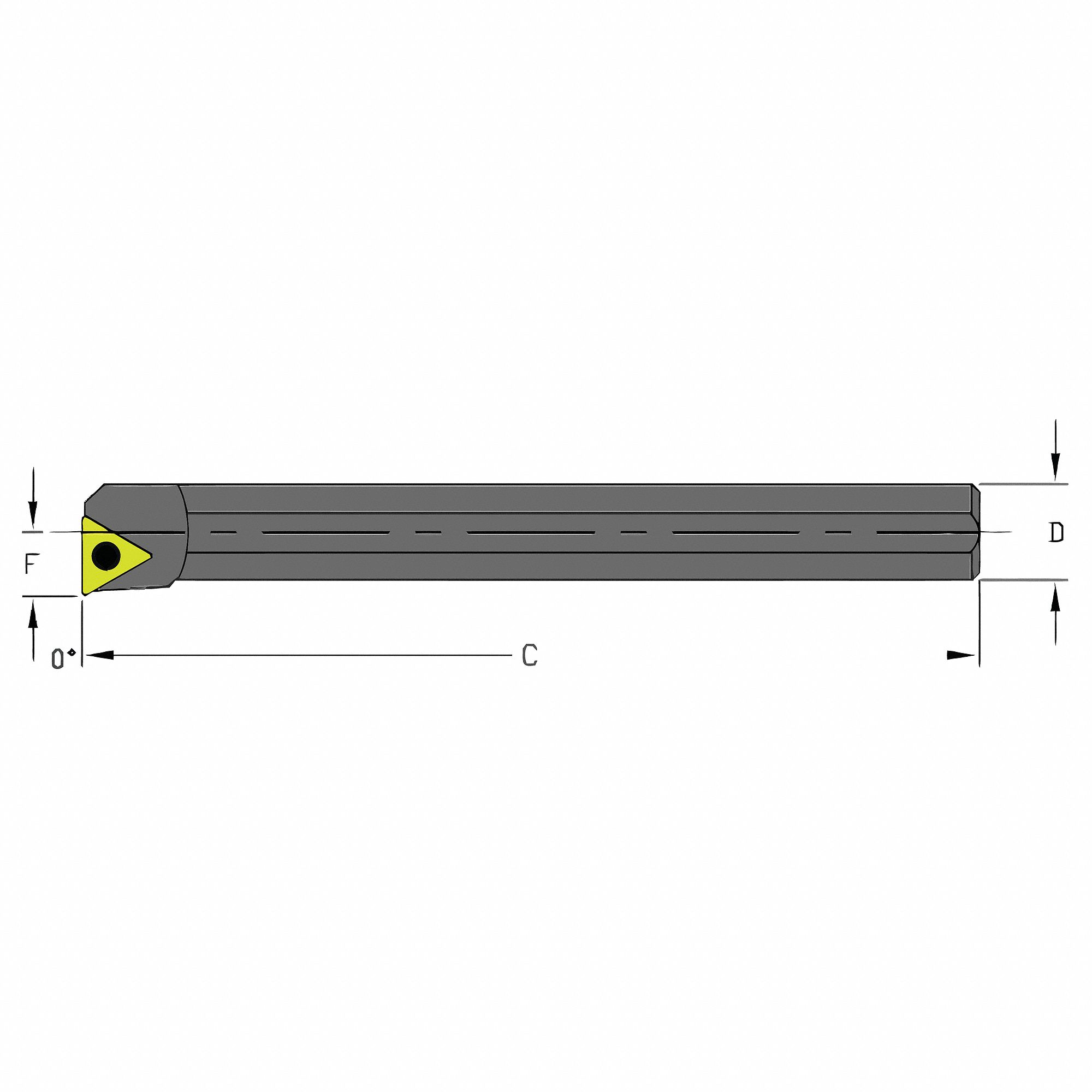 Indexable Boring Bar,  A-STFC,  Insert Shape Triangle,  Overall Length 6 in