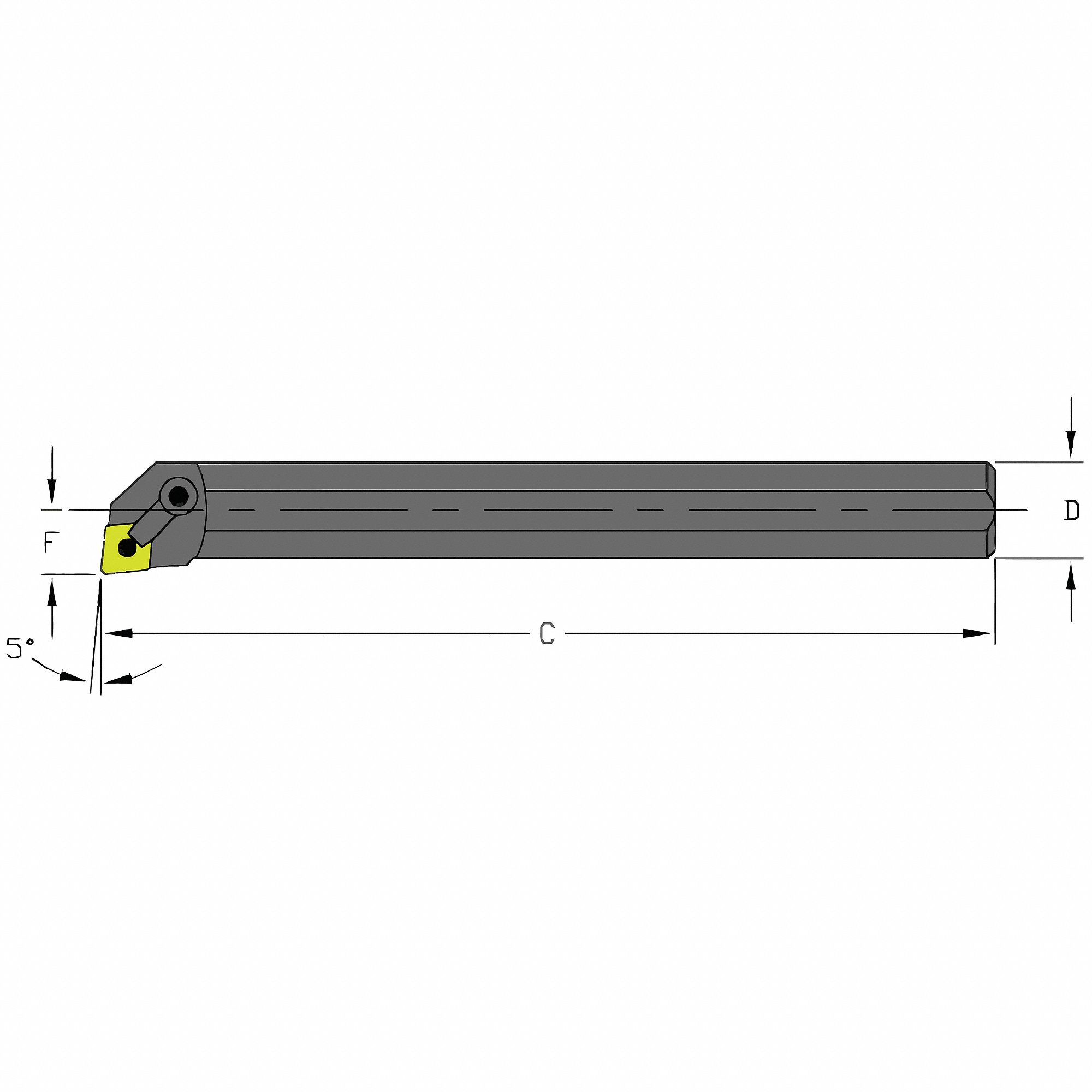 Indexable Boring Bar,  Insert Shape 80° Diamond,  Overall Length 10 in