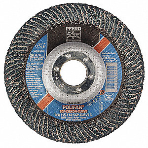 "4-1/2"" Flap Disc, Radial, Zirconia Alumina, 40 Grit, 7/8"" Mounting Size, SGP CURVE 5/8"" Thickness"