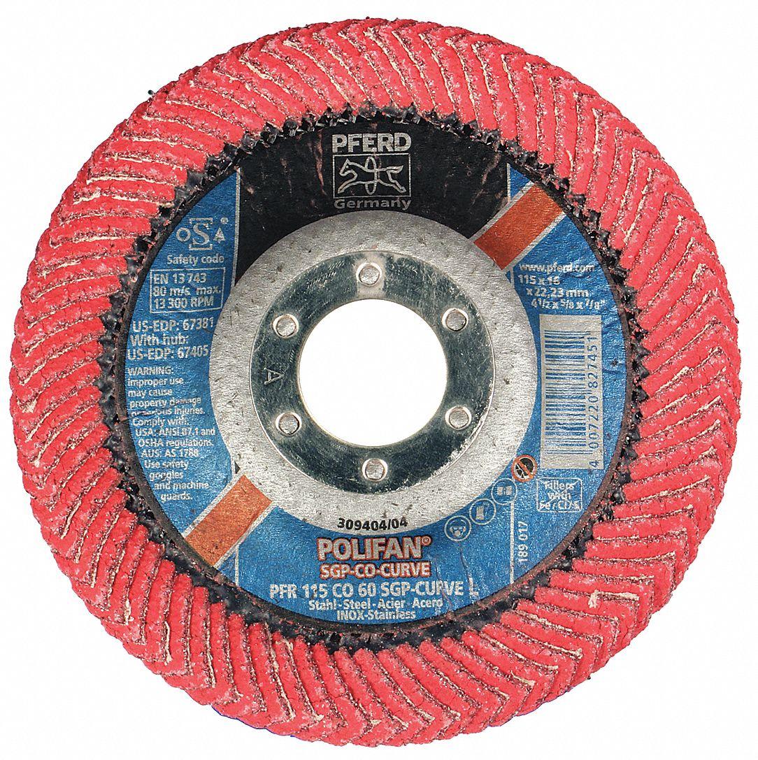 40 Grit 13300 RPM PFERD 67671 Polifan Radial Type Curve Flap Disc Aluminum Oxide 4-1//2 Diameter 5//8-11 Thread