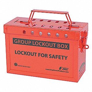Group Lockout Box ,Stainless Steel, Red
