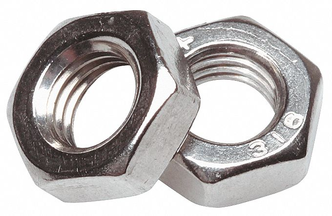 "Hex Nut,  Hex Nut,  Stainless Steel,  Grade 5,  Plain,  1/4""-28 Dia./Thread Size,  Right Hand"