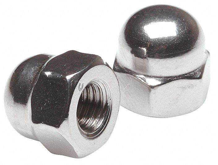 "1/4""-28 Cap Nut, Plain Finish, Stainless Steel 18-8, PK10"