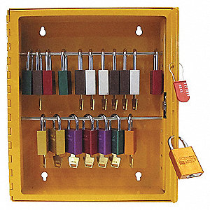 CABINET LOCKOUT STEEL YELLOW 12X14
