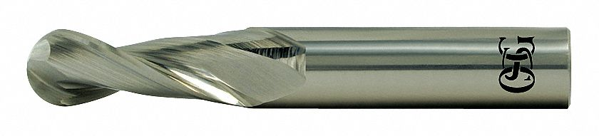 Ball End Mill,  1/2 in,  Carbide,  Bright (Uncoated),  Non-Coolant Through