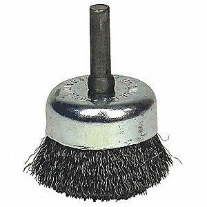 "1-3/4"" Crimped Wire Cup Brush, Shank Mounting, 0.006"" Wire Dia. 1/2"" Bristle Trim Length"