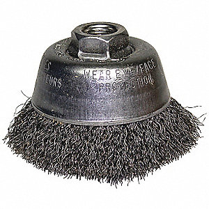 Crimped Wire Cup Brush,4in.dia,1-1/8in.L