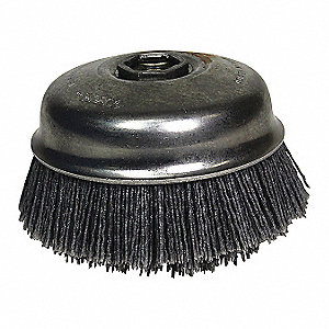 "4"" Crimped Wire Cup Brush, Arbor Hole Mounting, 0.040"" Wire Dia. 1-1/2"" Bristle Trim Length"