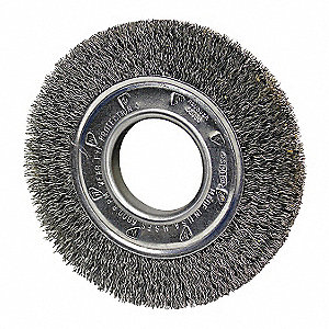 "10"" Crimped Wire Wheel Brush, Arbor Hole Mounting, 0.014"" Wire Dia., 2"" Bristle Trim Length, 1 EA"